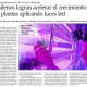 """Artículo en El Mercurio: """"Chilenos logran acelerar el crecimiento de plantas aplicando luces LED"""""""
